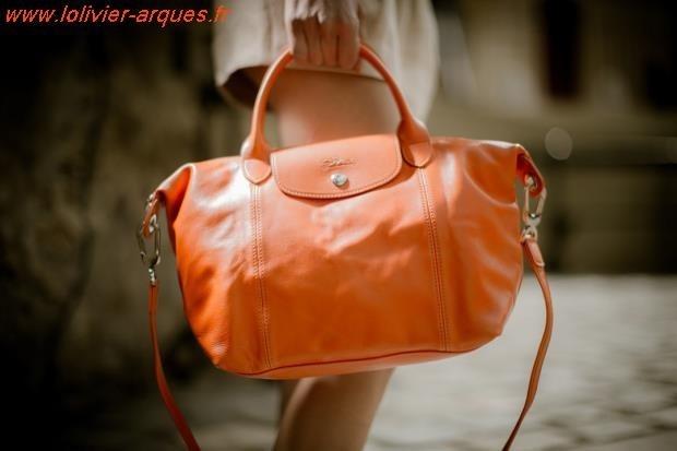 Un rétro pour le sac longchamp pliage cuir orange Rose - geokibios.be